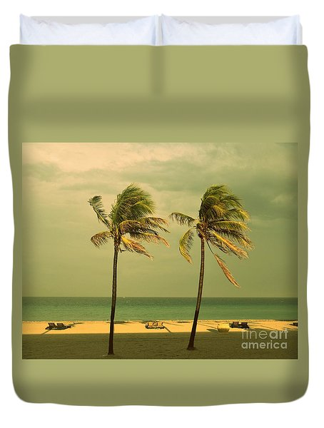 Palm Trees At Hallendale Beach Duvet Cover