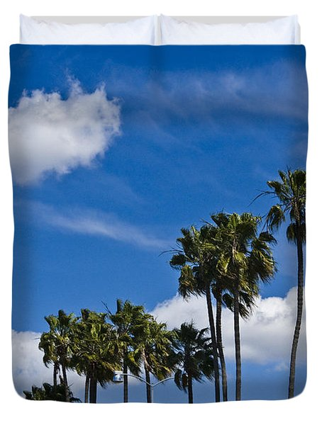 Palm Trees In San Diego California No. 1661 Duvet Cover by Randall Nyhof