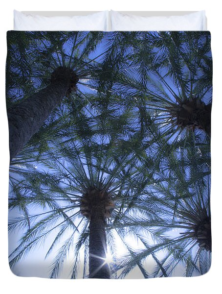 Duvet Cover featuring the photograph Palm Trees In The Sun by Jerry Cowart