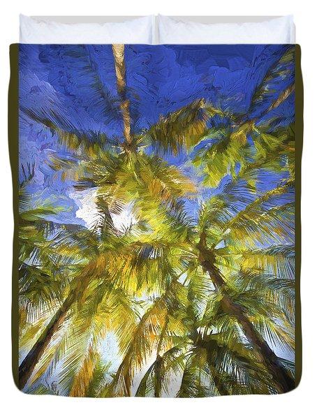 Palm Trees Of Aruba Duvet Cover