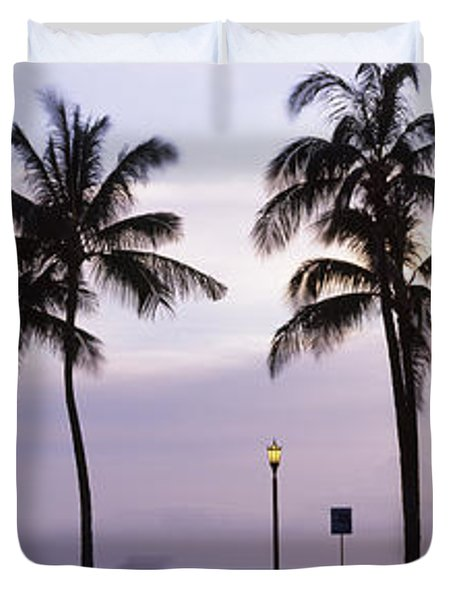 Palm Trees On The Beach, Waikiki Duvet Cover