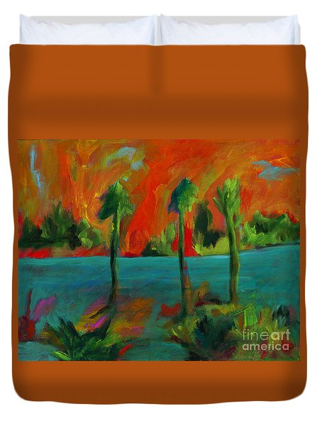 Duvet Cover featuring the painting Palm Trio Sunset by Elizabeth Fontaine-Barr