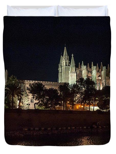 Palma Cathedral Mallorca At Night Duvet Cover