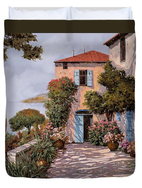 Palmette Viola Duvet Cover by Guido Borelli