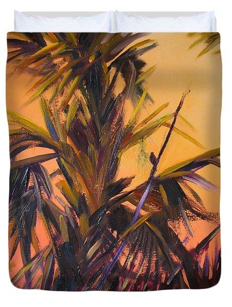 Palmettos At Dusk Duvet Cover