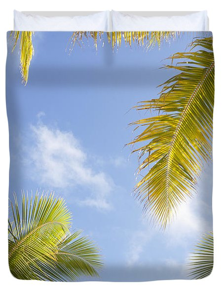 Palms And Sky Duvet Cover by Brandon Tabiolo