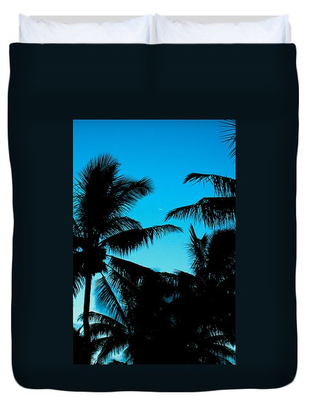 Palms At Dusk With Sliver Of Moon Duvet Cover
