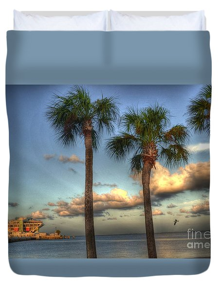 Palms At The Pier Duvet Cover by Timothy Lowry