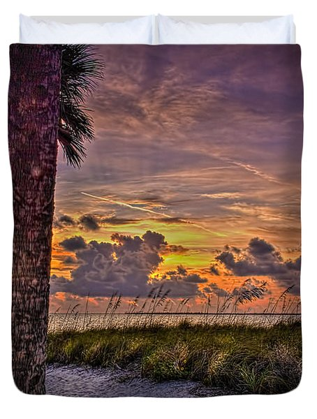 Palms Down To The Beach Duvet Cover by Marvin Spates