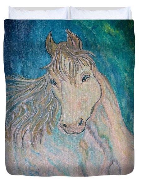 Duvet Cover featuring the painting Palomino Thunder by Ella Kaye Dickey