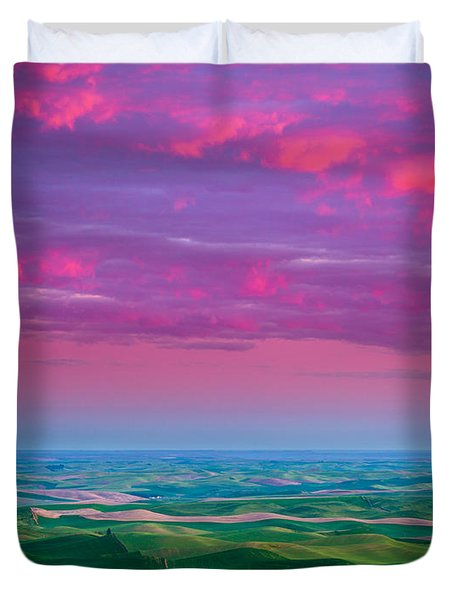Palouse Fiery Dawn Duvet Cover by Inge Johnsson