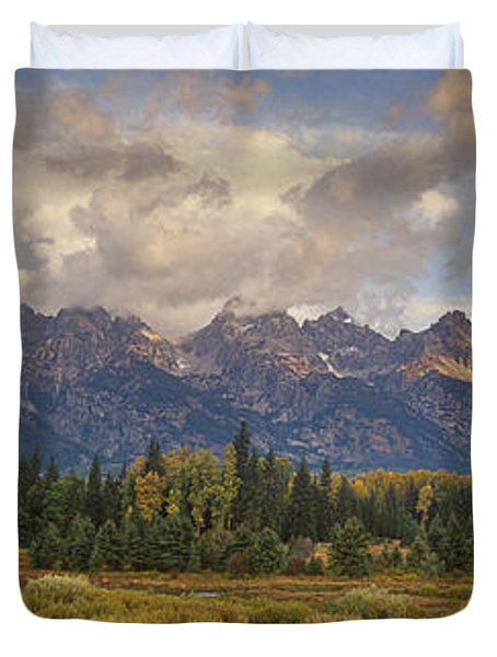 Duvet Cover featuring the photograph Panaroma Clearing Storm On A Fall Morning In Grand Tetons National Park by Dave Welling