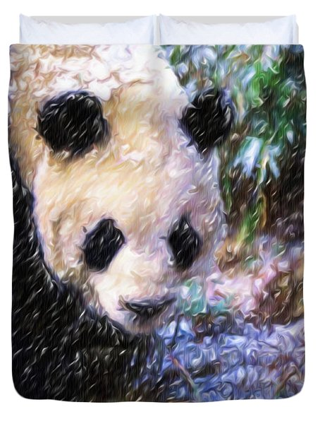 Panda Bear Walking In Forest Duvet Cover by Lanjee Chee