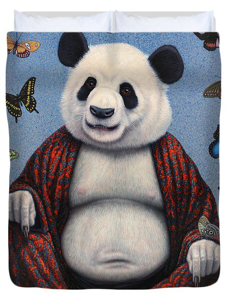Panda Buddha Duvet Cover by James W Johnson
