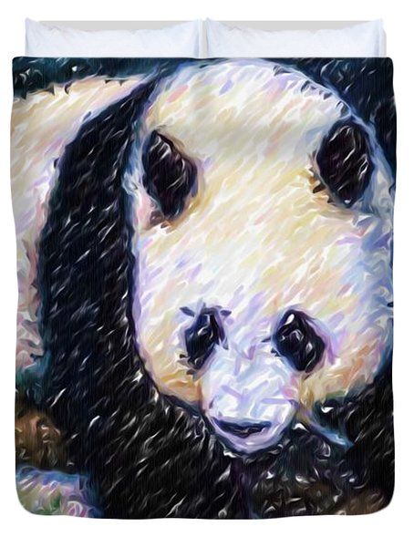 Panda In The Rest Duvet Cover by Lanjee Chee