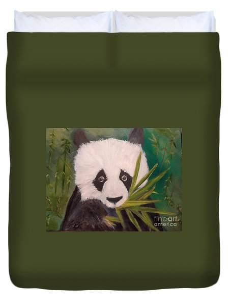 Duvet Cover featuring the painting Panda by Jenny Lee