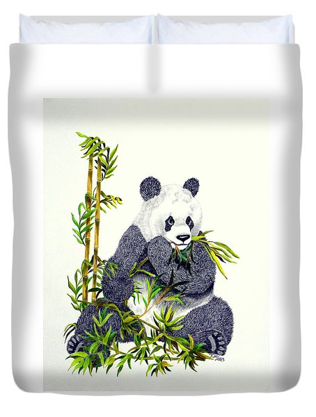 Duvet Cover featuring the drawing Panda  by Terri Mills
