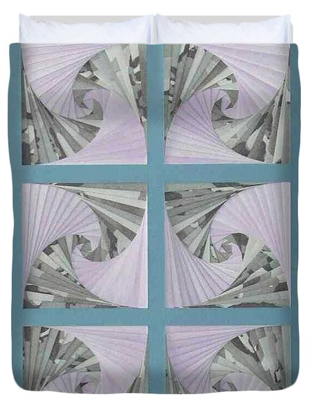 Duvet Cover featuring the mixed media Panes by Ron Davidson