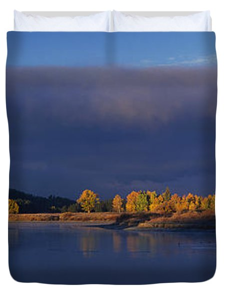 Duvet Cover featuring the photograph Panorama Clearing Storm Oxbow Bend Grand Tetons National Park Wyoming by Dave Welling