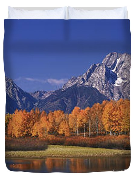 Duvet Cover featuring the photograph Panorama Fall Morning Oxbow Bend Grand Tetons National Park Wyoming by Dave Welling