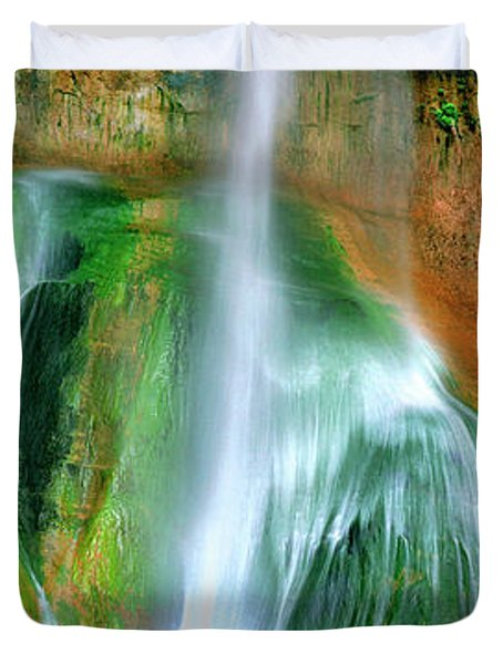 Duvet Cover featuring the photograph Panorama Lower Calf Creek Falls Escalante Nm Utah by Dave Welling