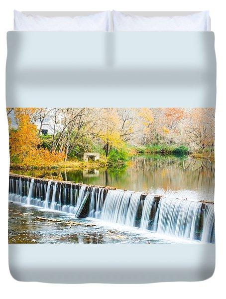 Panorama Of Buck Creek In Autumn Duvet Cover