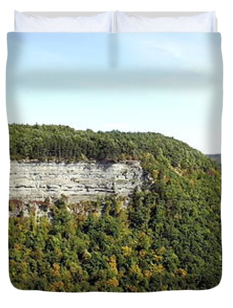 Panorama Of Cliff At Letchworth State Park Duvet Cover