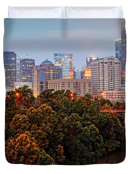 Panorama Of Downtown Houston At Dawn - Texas Duvet Cover