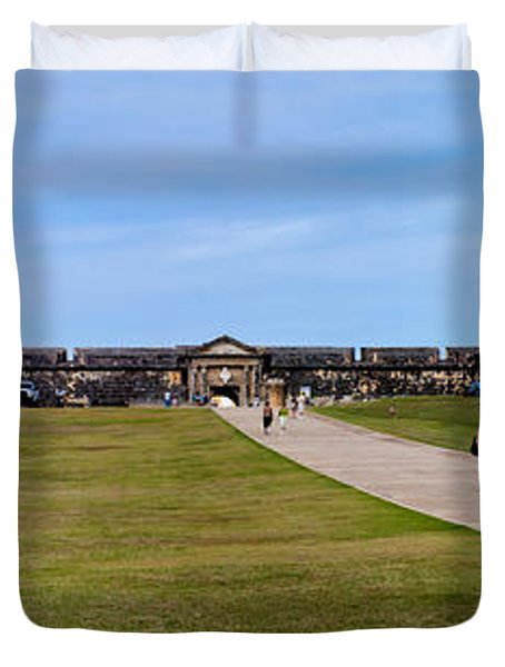 Panorama Of El  Morro Castillo Duvet Cover by Thomas Marchessault
