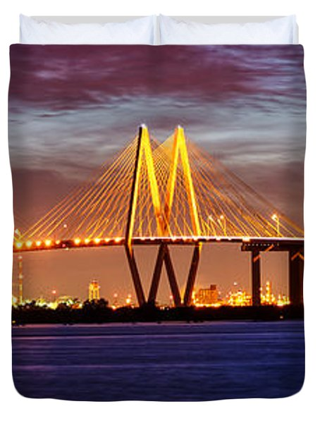 Panorama Of Fred Hartman Bridge Duvet Cover