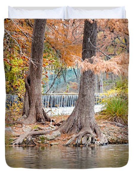 Panorama Of Guadalupe River In Hunt Texas Hill Country Duvet Cover