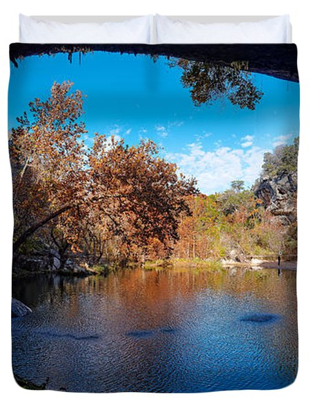 Panorama Of Hamilton Pool In The Fall - Austin Texas Hill Country Duvet Cover