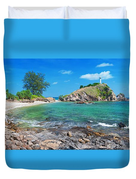 Panorama Of Pebble Beach Duvet Cover by Atiketta Sangasaeng