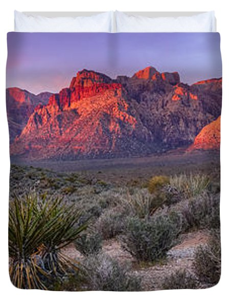 Panorama Of Rainbow Wilderness Red Rock Canyon - Las Vegas Nevada Duvet Cover