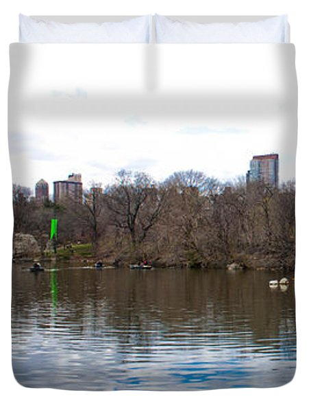 Panorama Of The Lake Of Central Park New York City Duvet Cover by Thomas Marchessault