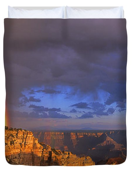 Duvet Cover featuring the photograph Panorama Rainbow Over Cape Royal North Rim Grand Canyon National Park by Dave Welling