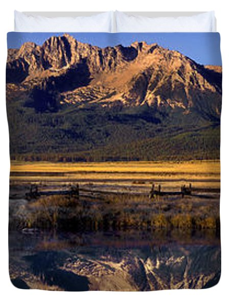 Duvet Cover featuring the photograph Panorama Reflections Sawtooth Mountains Nra Idaho by Dave Welling