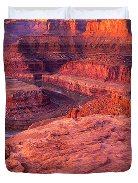 Duvet Cover featuring the photograph Panorama Sunrise At Dead Horse Point Utah by Dave Welling