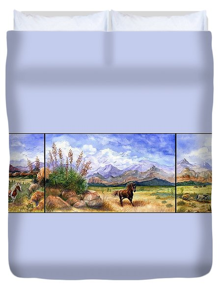 Panorama Triptych Don't Fence Me In  Duvet Cover