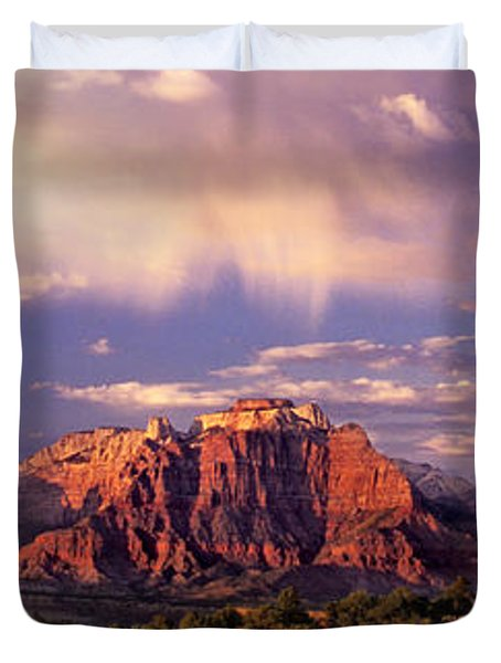 Panorama West Temple At Sunset Zion Natonal Park Duvet Cover by Dave Welling
