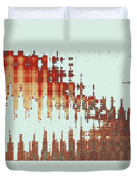 Panoramic City Reflection Duvet Cover