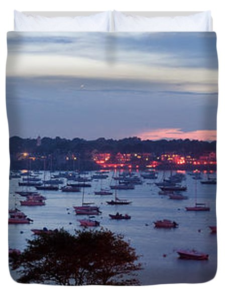 Panoramic Of The Marblehead Illumination Duvet Cover
