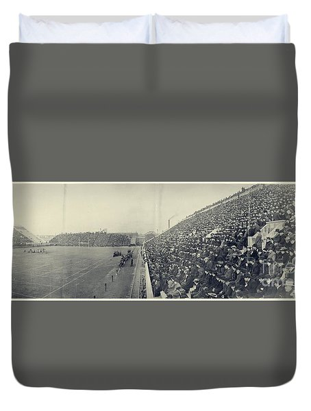 Panoramic Photo Of Harvard  Dartmouth Football Game Duvet Cover by Edward Fielding