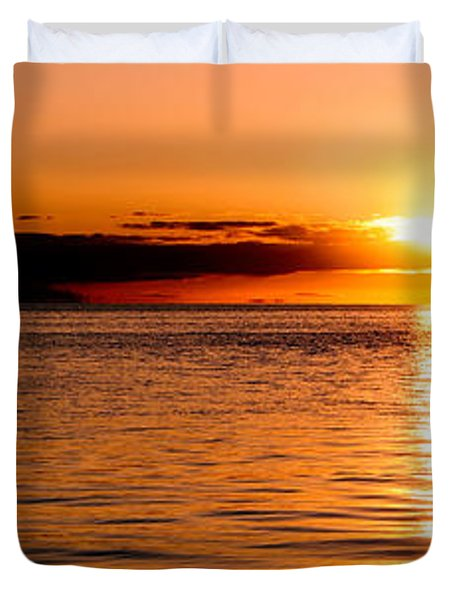 Panoramic Photo Of Sunrise At Monkey Mia Of Australia Duvet Cover