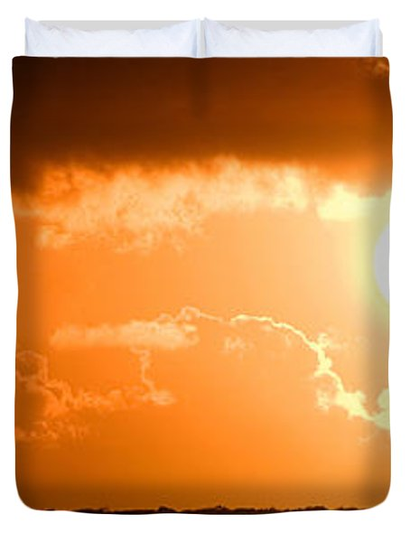 Panoramic Photo Of Sunset At Monkey Mia  Duvet Cover