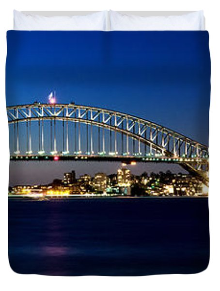 Panoramic Photo Of Sydney Night Scenery Duvet Cover
