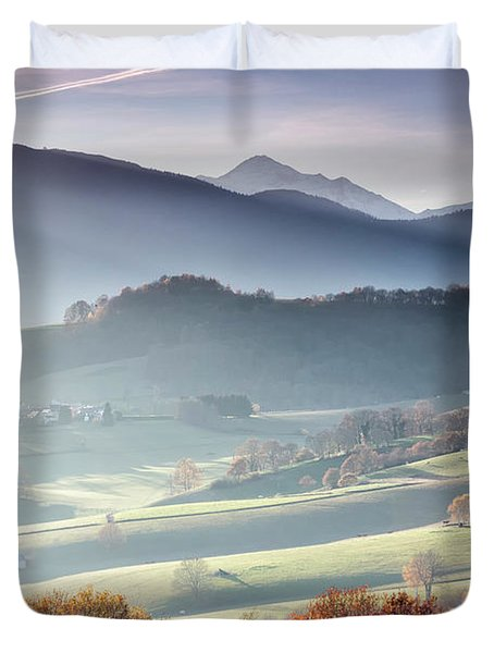 Panoramic Photograph Taken From Lourdes Duvet Cover