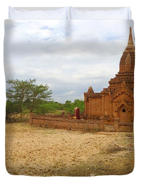 Duvet Cover featuring the photograph Panoramic View Next To Dhammayazika Pagoda Built In 1196 By King Narapatisithu by Ralph A  Ledergerber-Photography