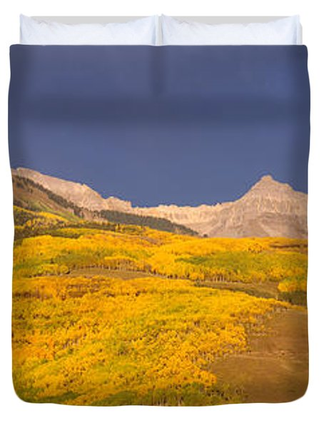 Panoramic View Of Mountains, Telluride Duvet Cover