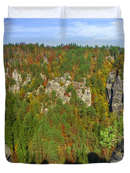 Panoramic View Of The Elbe Sandstone Mountains Duvet Cover